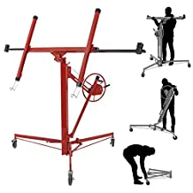 ARKSEN Drywall Lift Panel 11' Hoist Dry Wall Jack Rolling Caster Lockable Lifter, Red