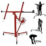 ARKSEN Drywall Panel Lift Dry Wall Panel Hoist Lockable Adjustable Lifter Ceiling Max 11ft 150 LB Max Caster Wheels, Red