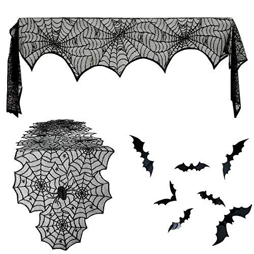 26 Pieces Halloween Decoration Set, Include Spiderweb Lace Fireplace Mantle Cover, Polyester Spider Table Runner and Bat Wall Decals for Festive Party Supplies