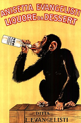 Vintage Liquore Dessert Drunk Monkey Poster Art Print, Collections Print