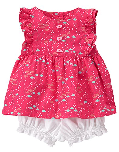 Gymboree Baby Toddler Girls' 2-Piece Bubble Play Set, Guava Bold, 3-6 Mo - Guava Set