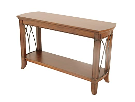Cerezo macizo mesa de sofá - mesa auxiliar con claros y Metal ...