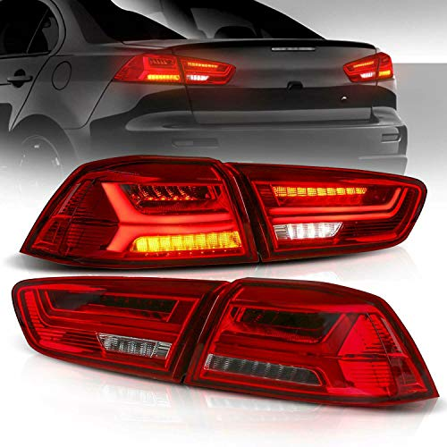 MOSTPLUS RED LED Tail Light Rear Lamp Compatible for 2008-2018 Mitsubishi Lancer w/Sequential Turn Light