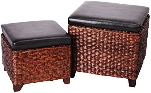 Eshow Ottoman Cube Shaped Storage Ottomans Hassocks and Ottomans as Footrest Stool Ottoman Bench Set