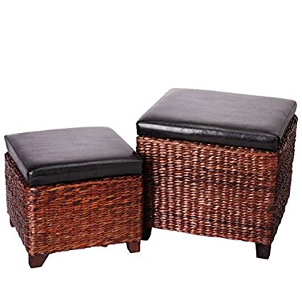 Charmant Eshow Ottoman Rattan Ottoman With Storage Hassocks And Ottomans Foot Rest  Pouf Ottoman Foot Stools Cube