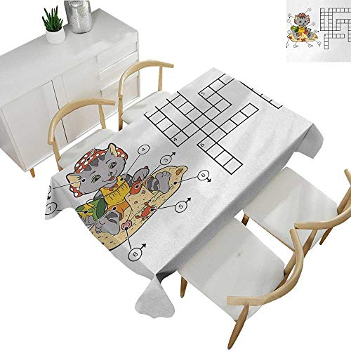 Word Search Puzzle,Tablecloth Factory Crossword Game for Children Cute Cat on Beach and Building Sand Castles Patterned Tablecloth Multicolor 60