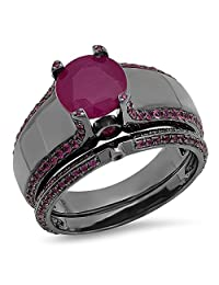 3.25 Carat (ctw) Black Rhodium Plated Sterling Silver Round Ruby Ladies Engagement Ring Band Set