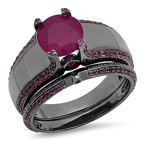 3.25 Carat (ctw) Black Rhodium Plated Sterling Silver Round Genuine Ruby Engagement Ring Set