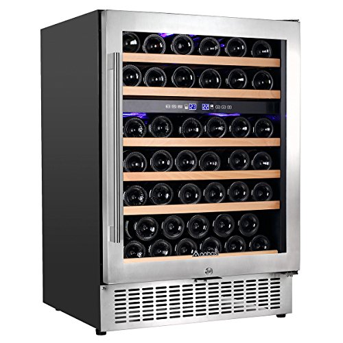 Aobosi Wine Cooler Refrigerator with 51 Bottles Dual Zones,Classy Look, Stainless Steel & Reversible Glass Door,and LED Display | Thermostatic Wine Refrigerator for Red and White Wine, Champagne,Beve by Aaobosi