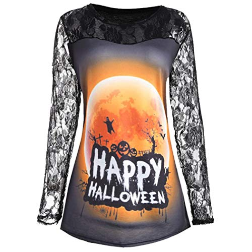 Halloween Sweatshirt, Fashion Womens Pumpkin Devil Blouse Tops Lace Patchwork Long Sleeve Pullover Shirts (Black, L) ()
