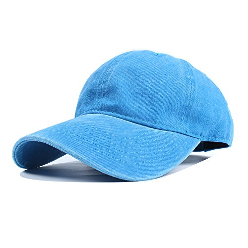 Vankerful Unisex Vintage Washed Dyed Cotton Twill Low Profile Adjustable Solid Colour Baseball Cap Strapback (Blue) (Twill Cotton Washed Hat)