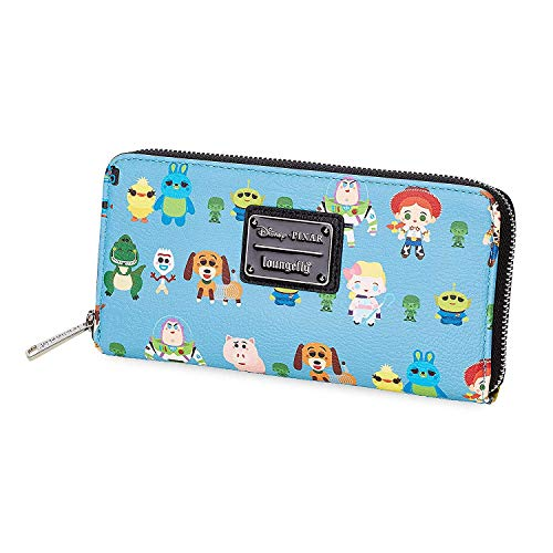 Loungefly Disney Toy Story Chibi Faux Leather Zip Around Wallet - WDWA0928, Blue, Large