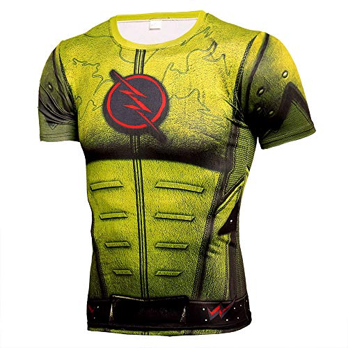 HOOLAZA Reverse-Flash Yellow Men's T-Shirt Fitness Sport Gym Compression Avengers Short Shirt Gym Training T-Shirt L