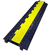 The Falcon Lite - Heavy Duty Polyurethane Cable Protector - 2 Channel - Black base, Yellow lid