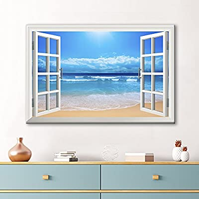 Clear Waves and Fine Sand Beach - Canvas Art Wall Art - 32