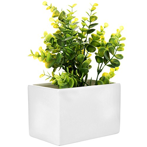 MyGift Modern White Ceramic Wall Hanging Succulent & Herb Planter Box, Set of 4 by MyGift (Image #4)