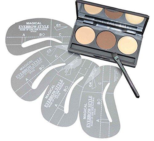VALUE MAKERS® 3 Farben Brauenpuder mit 4X Augenbrauen Schablonen