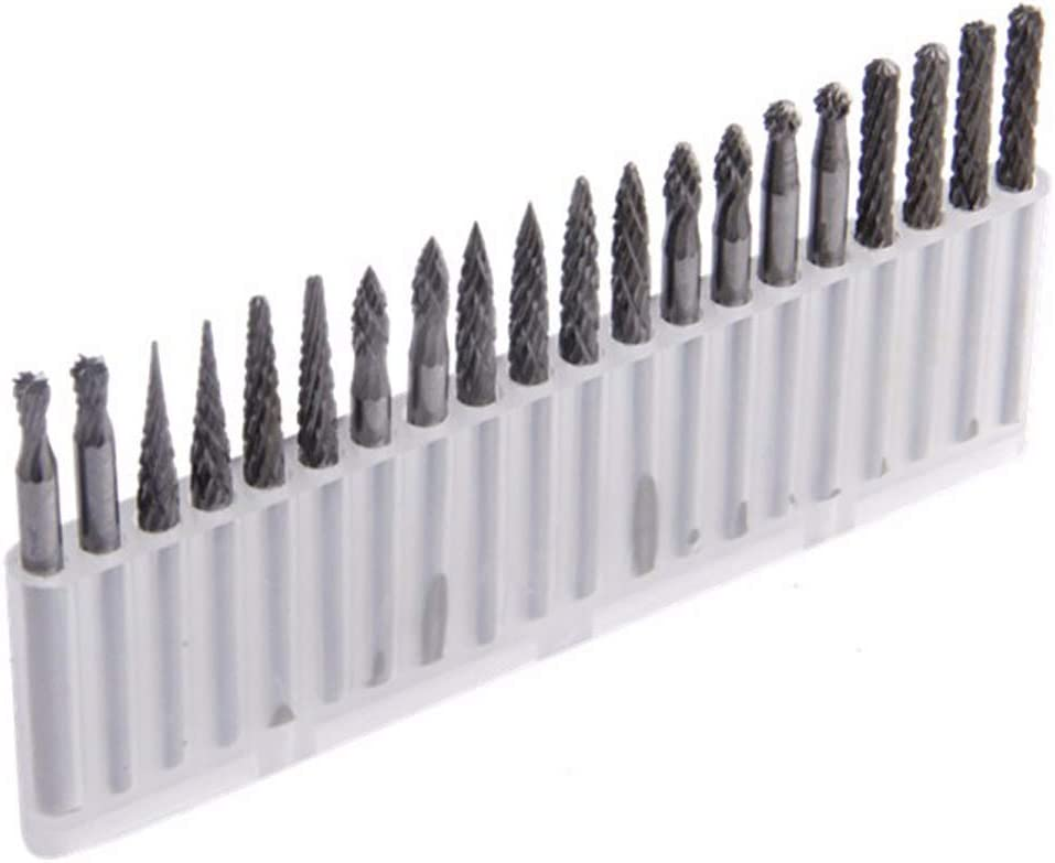 1//8 Shank Double Cut Tungsten Carbide Roary Files Burrs for Rotary Drill Die Grinder Woodworking,Engraving,Drilling,Carving by Lukcase 20pcs Solid Carbide Burr Set