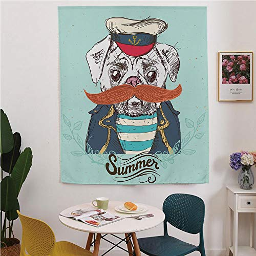 Pug Blackout Window curtain,Free Punching Magic Stickers Curtain,Captain Dog with Hat Mustache Jacket and Shirt Cute Animal Funny Image Decorative,for Living Room,study, kitchen, dormitory, Hotel,Navy
