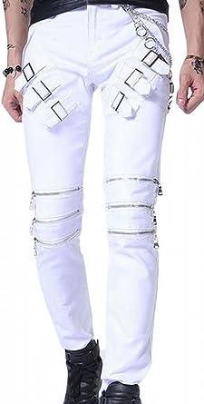 9bbb25b0bdb xtsrkbg Men s Gothic Rocker Punk Motorcycle Boot Cut Jeans Pants White 27