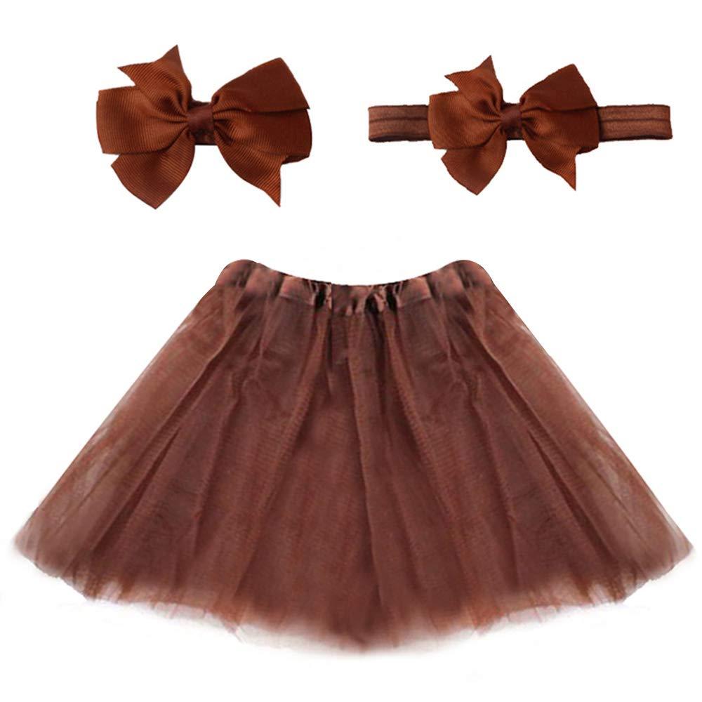 Edhua Baby Girl Tutu Skirt Fluffy Tulle Dance Costume Vibrant Color (Send Headband)