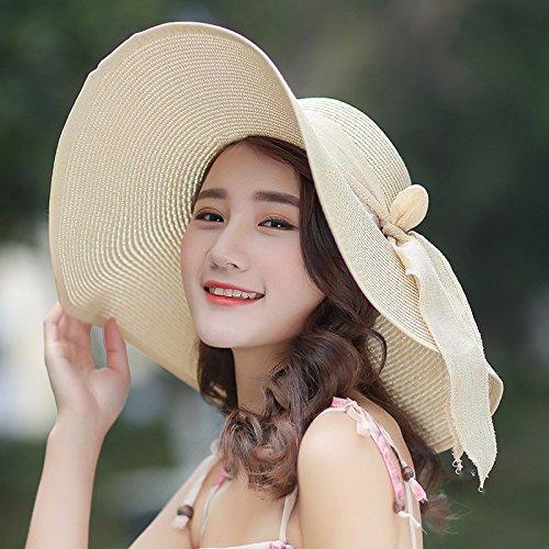 LOF-fei Mujer verano sombrero para el sol sombreros de paja plegable de ala  ancha 33949491ba0