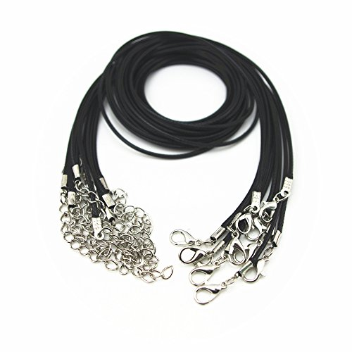 "Price comparison product image Glory Qin 10pcs 22"" Black Leather Necklace Cord Chain 1.5mm 2"" Extension Chain"