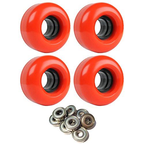 SKATEBOARD CRUISER WHEELS 56mm x 34mm 78A 186C Red ABEC 7 BEARINGS