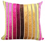 Eazyhurry Velvet Stylish Striped Soft Cushion Cover with Invisible Zipper Vintage European Standard Size Cushion Sham Decorative Body Cushion Protector Pillow Case Golden 24'' X 24''