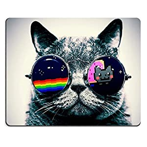Nyan Cat Glasses Funny Kitten Mouse Pads Customized Made to Order Support Ready 9 7/8 Inch (250mm) X 7 7/8 Inch (200mm) X 1/16 Inch (2mm) High Quality Eco Friendly Cloth with Neoprene Rubber Luxlady Mouse Pad Desktop Mousepad Laptop Mousepads Comfortable