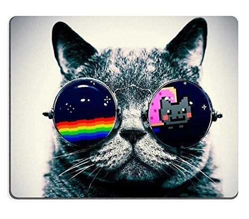 Nyan Cat Glasses Funny Kitten Mouse Pads Customized Made to Order Support Ready 9 7/8 Inch (250mm) X 7 7/8 Inch (200mm) X 1/16 Inch (2mm) High Quality Eco Friendly - Designs Glass Latest
