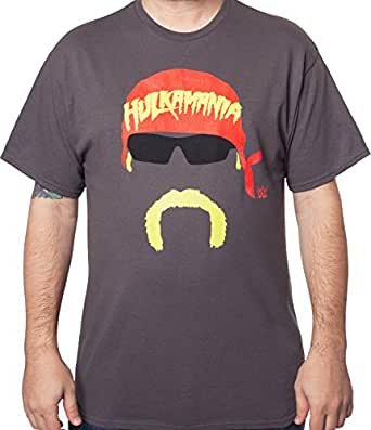 WWE Men's Hulk Hogan Face Silhouette Tee Charcoal 2XL