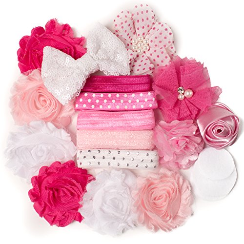 - Pretty in Pink : DIY Headband Making Craft Kit - Great for Girls Princess Parties & Baby Showers - Pink, White (Makes 5-10 Headband Hair Accessories)