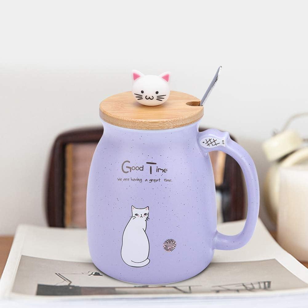 Rosa Tazza in ceramica Simpatico cartone animato Gatto Tazza in ceramica Tazza in ceramica resistente al calore con cucchiaio in acciaio inossidabile e coperchio in legno per caff/è Acqua Latte B