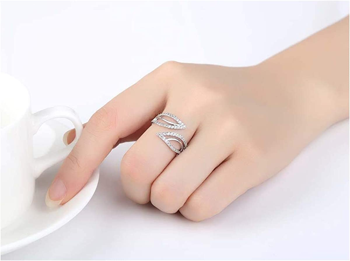HQLA Silver Plated Adjustable Double Leaves Open Band Cuff Ring for Women Girls Birthday Wedding Gifts with Small//Tiny Cubic Zirconia Diamond