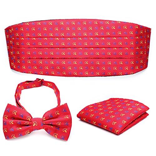 PenSee Mens Formal Fleur-de-lis Florals Jacquard Bow Tie & Pocket Square & Cummerbund Set ()