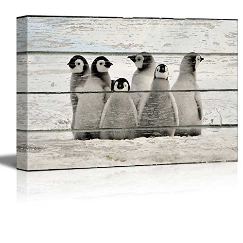 Little Penguins on Vintage Wood Textured Background Rustic Country Style