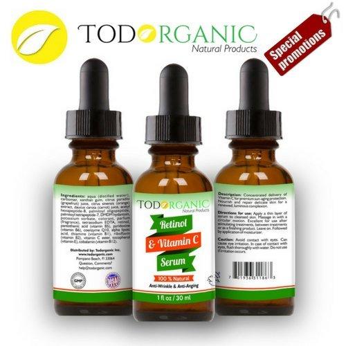 Best Organic Vitamic C & Retinol Serum - High Potency Anti-Aging - Stretch Marks and Redness - Natural Ingredients - Intense Hydratation - Even Skin Tone & Acne Care (Juice Organics Acne)