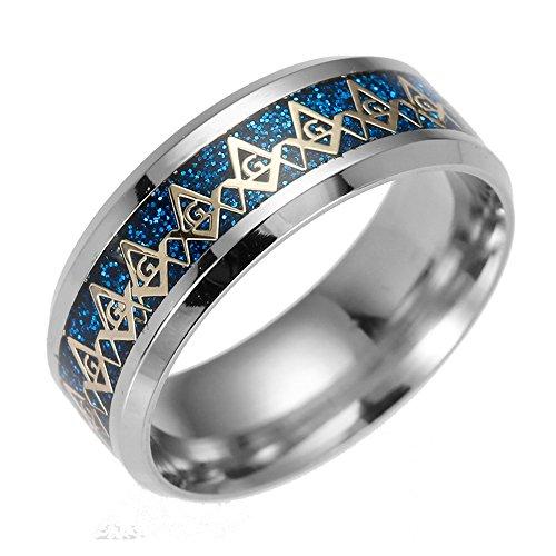 Masonic Enamel Ring Blue - FM FM42 Blue Background & Gold-tone Pattern Mens Freemason Masonic Symbol 8mm Width Stainless Steel Band Rings LR2001-12