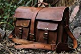 16 inch Vintage Handmade Leather Messenger Bag for Laptop Briefcase Best Computer Satchel School Distressed Bag by Handmadecraft