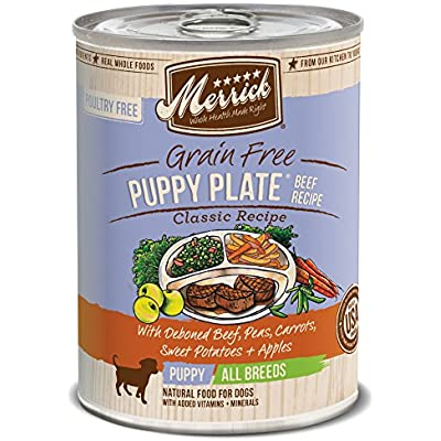 Merrick Classic Grain Free Canned Dog Food, 13,2 Oz, 12 Count Puppy Plate Beef