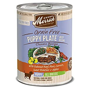 Merrick Classic Grain Free Puppy Plate Beef Wet Dog Food, 13.2 oz, Case of 12 Cans