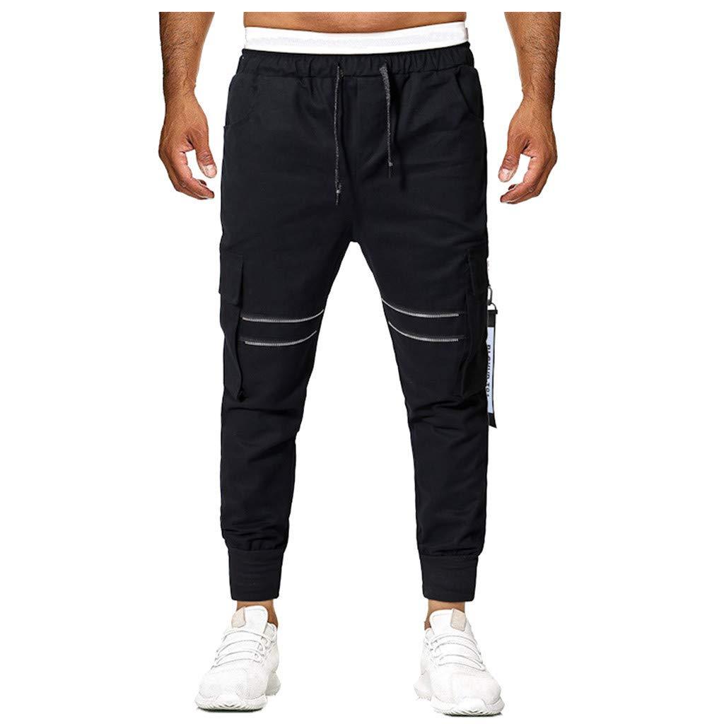 Seaintheson Men's Athletic Pants,Summer Casual Multi-Pocket Jogging Pants Drawstring Elastic Waist Overalls Pants Black