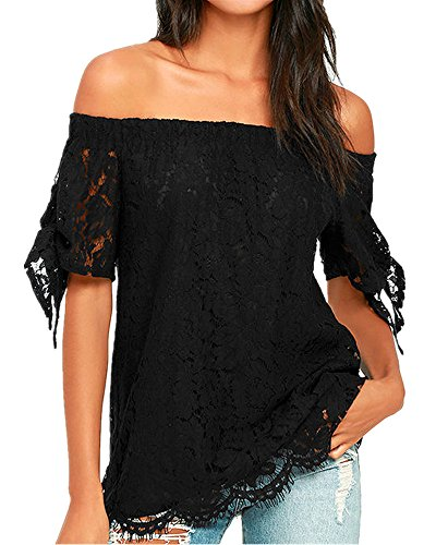 Off Shoulder Taffeta - Geckatte Women's Sexy Lace Off Shoulder Short Sleeve Casual Shirt Tops Blouse T-Shirts
