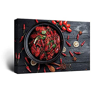 Red Lobsters and Chili Peppers on Wood Background, Made With Love, Fascinating Piece