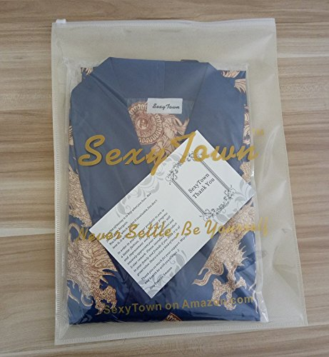 03209af75d SexyTown Long Satin Lounge Print Bathrobe Men s Charmeuse Sleepwear with  Pockets