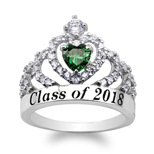 JamesJenny 925 Sterling Silver School Class of 2018 Graduation Heart Emerald Green CZ Ring Size - Ring Emerald Class