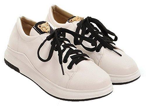 Chaussures Agoolar Rond Blanc Cuir Talon À Bas Unie Femme Légeres Couleur Lacet Pu qCaqpTw