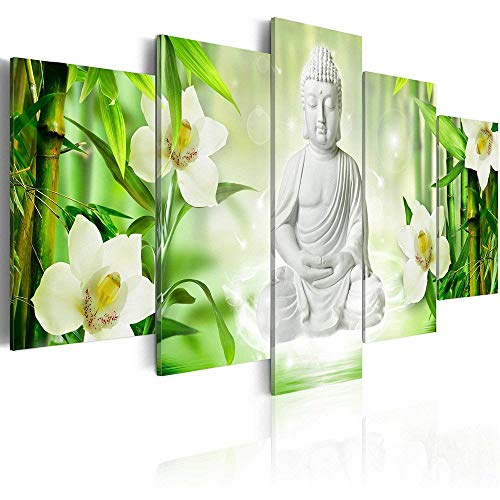 - AWLXPHY Decor-Framed Buddha Wall Art Canvas 5 Panels for Living Room Decor Modern Still Life White Buddha Orchid Bamboo Stretched Green Zen Wall Art Giclee (W40 x H20)