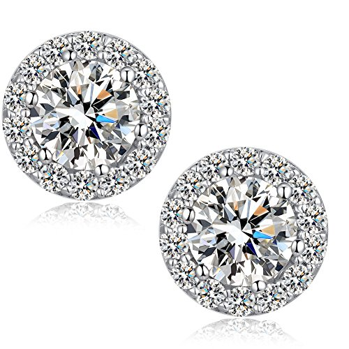 Halo Earrings White Halo Stud Earrings 18K White Gold Plated Cubic Zirconia Halo Stud Earrings,CZ Sterling Silver Stud Earrings Nickel Free Fake Diamond Earrings,Silver Diamond Post Earrings for Women ()